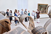 Young people interested in art during guidance through the national gallery Stuttgart, Baden-Wuerttemberg, Germany, Europe