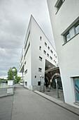 Futuristic residential area at Danube channel, Vienna, Austria, Europe