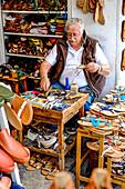 Shoemaker during his work, Capri, Campania, Italy