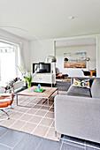 Living room, Bauhaus residential house, Hamburg, Germany