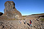 Hikers in Pjodgardur at the Jokulsargljufur National Park at the Joekulsa river, North Iceland, Europe
