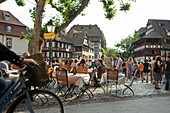 Restaurant in the Petite France quarter, Strasbourg, Alsace, France