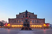 Semper opera in evening lighting, Dresden, Saxony, Germany, Europe