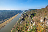 Elbe river seen from the Bastei rock, Elbe Sandstone mountains, Saxon Switzerland, Saxony, Germany, Europe