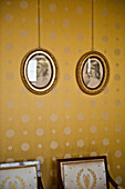 Two portraits in round frames, Residenz, Munich, Upper Bavaria,  Bavaria, Germany