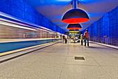 U-Bahn Station Westfriedhof, lamps are 3,80 metres in diameter, Munich, Upper Bavaria,  Bavaria, Germany