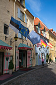 Exterior view of Schloessle hotel with flags, Tallinn, Harjumaa, Estonia, Baltic States, Europe