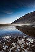 USA, California, Death Valley National Park, Badwater, elevation 282 feet below sea level, lowest point in the Western Hemisphere, morning