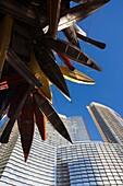 USA, Nevada, Las Vegas, CityCenter, Aria Hotel and canoe sculpture, Big Edge by Nancy Rubins