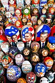 Russia, Moscow Oblast, Moscow, Red Square, souvenir matryoshka nesting dolls with political theme