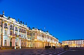Russia, Saint Petersburg, Center, Winter Palace, Hermitage Museum, Dvortsovaya Square, evening