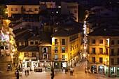 Spain, Castilla y Leon Region, Segovia Province, Segovia, town view over Plaza Azoguejo, evening