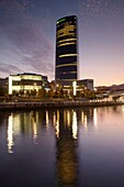 Spain, Basque Country Region, Vizcaya Province, Bilbao, Office Tower designed by Cesar Pelli, dusk