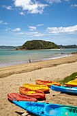 Colourful kayaks on beach in Bay of Islands