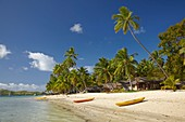 Kayaks on the beach, Plantation Island Resort, Malolo Lailai Island, Mamanuca Islands, Fiji, South Pacific