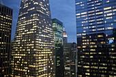 New York, New York City, NYC, Midtown, Manhattan, Bank of America Towers, skyline, skyscrapers, office buildings, lights, dusk, Empire State, view, urban, night, windows