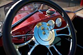palm trees reflected in the steering wheel of a vintage automobile