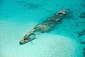 Sunken ship at the reef in Kuna Yala  San Blas archipelago, Caribbean, Panama, Central America