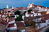 Overview of medieval fortified village of Monsaraz at nigthfall, Reguengos de Monsaraz  Coimbra District  Alentejo  Portugal