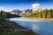 Athabasca River and mountain scenery in the Jasper National Park, Alberta, Canada