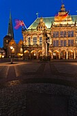 The mediaeval town hall in Bremen with the Roland statue at night, Germany, Europe