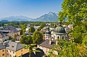 Aerial view , Alpes , Alpine , architecture , Austria , building , city , cityscape , color image , day , Europe , horizontal , mountain , Mountain range , outdoor , Salzburg , V04-1589849 , AGEFOTOSTOCK
