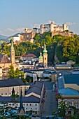Overview of Salzburg with the fortress Hohensalzburg, Salzburg, Austria, Europe