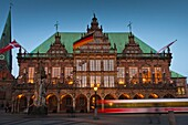 The mediaeval town hall in Bremen and tram, Germany, Europe