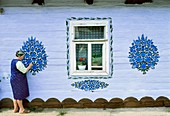 Poland, Lesser Poland, Tarnow region, Zalipie, ´Malowana Chata´, Painted Cottage contest for the best decorated house  This competition has been held annually since 1948, during the weekend after Corpus Christi