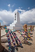 Independence, California - The cemetery at the Manzanar Internment Camp, one of 10 camps where Japanese-Americans were held during World War II  The site has been preserved as the Manzanar National Historic Site by the National Park Service  Strings of pa