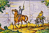 ceramics painting telling an episode of Don Quixote novel, Argamasilla de Alba, Province of Ciudad Real, autonomous community Castile-La Mancha, Spain, Europe