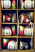 Bowling shoes on shelf for Duckpin bowling