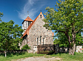 Stone church under blue sky, Bertikow, Uckermark, Land Brandenburg, Germany, Europe