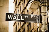 Wall Street Sign, Wall Street, Börsenviertel, Lower Manhattan, Downtown, Manhattan, New York City, New York, USA