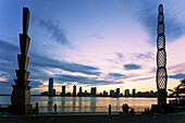 Pylons by Martin Puryear, View from Battery Park to Skyline of New Jersey at Sunset, Belvedere, Winter Garden, Hudson River, New York Cty, USA