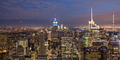 Top of the Rock, Panoramablick vom Rockefeller Center, Architekt Raymond Hood,  Manhattan, New York City, New York, USA