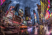 Street in the rain, Times Square at twilight, 42th, Broadway, Manhattan, New York City, New York, USA
