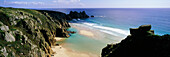 Porthcurno Bay, Cornish Coast, Area of Outstanding Natural Beauty, AONB, Cornwall, South West England, England