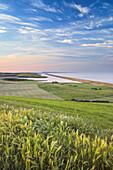 THE FLEET & CHESIL BEACH with views to the Isle of Portland, Jurassic Coast, UNESCO World Heritage Site, Abbotsbury, Dorset, England