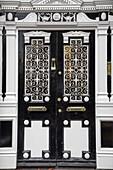 Dark brown door and grid with white ornament, Kings Door, Dublin, County Dublin, Ireland