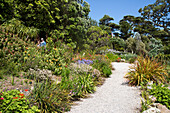 People stroll through Abbey Gardens, Tresco, Isles of Scilly, Cornwall, England