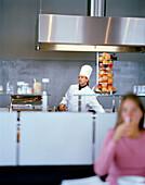 Open kitchen in a breakfast room of a hotel, Langenlois, Lower Austria, Austria