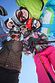 Five children with skiing equipment, Gargellen, Montafon, Vorarlberg, Austria