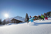 Children playing in snow, Gargellen, Montafon, Vorarlberg, Autria