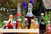 Bottles of juice, sirup and liqueurs, homemade, Garden