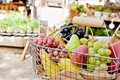Shopping basket full of fruit, shopping at the market, Viktualienmarkt, Munich, Bavaria, Germany, Bavaria, Germany