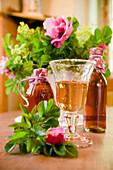 Homemade rose hip syrup, juice, liqueur, homemade, Bavaria, Germany