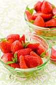 Fresh strawberries with mint in a bowl, Dessert, Fruit