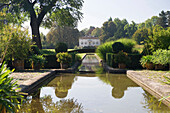 Water basin and house at Merian Park, Brueglingen, Basel, Switzerland, Europe