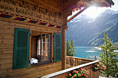 Chalet at lake Oeschinensee, Kandersteg, Bernese Oberland, Canton of Bern, Switzerland, Europe